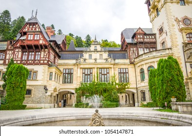 Peles Castle view of the front facade in Sinaia town of Romania on a sunny summer day