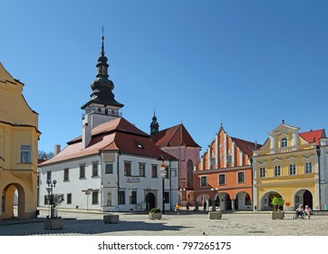 PELHRIMOV, CZECH REPUBLIC - APRIL 28, 2012: The main square in Pelhrimov - conservation area, Bohemia. It is an old historic town dating back to the 13th century