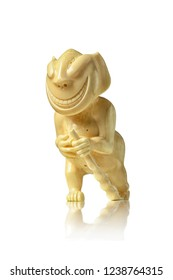 Peliken - an Eskimo and Chukchi talisman carved from the walrus tusk, the figure of a walking, smiling creature with a staff