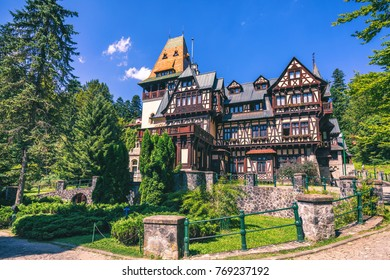 Pelisor castle, Sinaia, Romania. View of famous Pelisor castle situated next to the Peles castle near romanian city Sinaia.