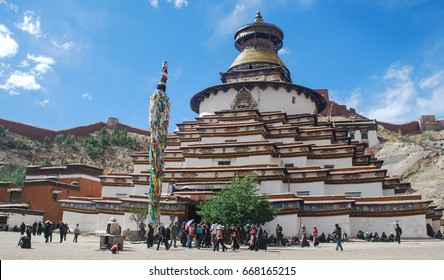 Pelkor Chode Monastery and big stupa Kumbum in Gyantse, Tibet.