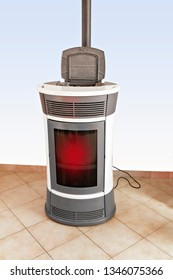pellet stove in the living room