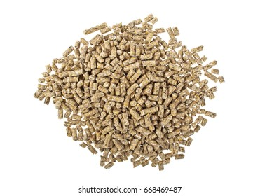 Pelleted compound feed Isolated on white background, wheatfeed pellets