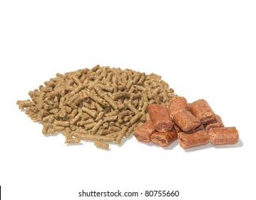 Pelleted horse feed and treats on white
