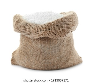 Pellets of ammonium nitrate in bag isolated on white. Mineral fertilizer