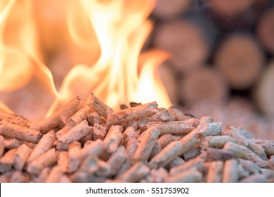 Pellets in flames- oak biomass, close up