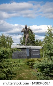 Pello, Finland - June 27, 2018: Statue for Eero Mäntyranta at Pello captured on sunny day with clounds.