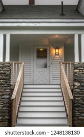 Pemaquid Point Keepers House Steps and Front Door - Bristol, Maine, USA