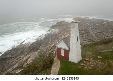 Pemaquid Point Lighthouse Bell House on Foggy Day - Bristol, Maine, USA