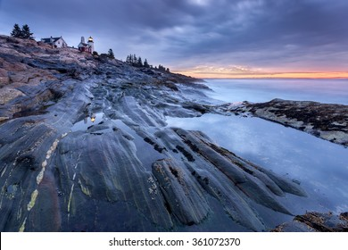 Pemaquid Point lighthouse at sunrise, Maine, USA