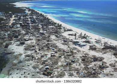 Pemba, Mozambique - 1 May 2019 : Aerial view of devastated fishing village after Cyclone Kenneth in northern Mozambique.