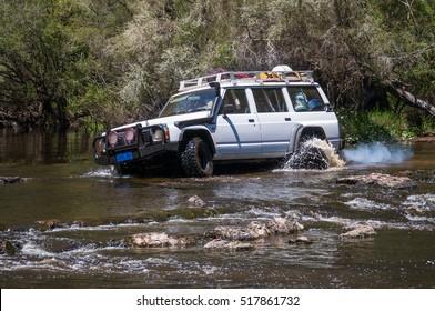 Pemberton, Western Australia - November 18, 2016: Ford Maverick crossing Warren river