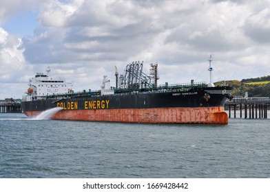 Pembroke Valero Terminal, Pembrokeshire, Wales - August 31, 2019: Product tanker Energy Chancellor conducting cargo operations.