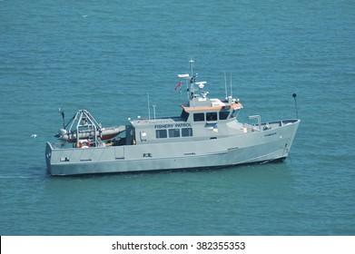 "PEMBROKESHIRE, WALES/UK - April 22nd, 2008. Fishery patrol boat ""Cranogwen"" near Skomer Island, Pembrokeshire, Wales, UK"