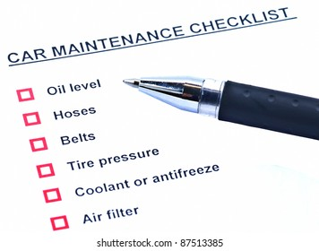 Pen and blank checklist car maintenance