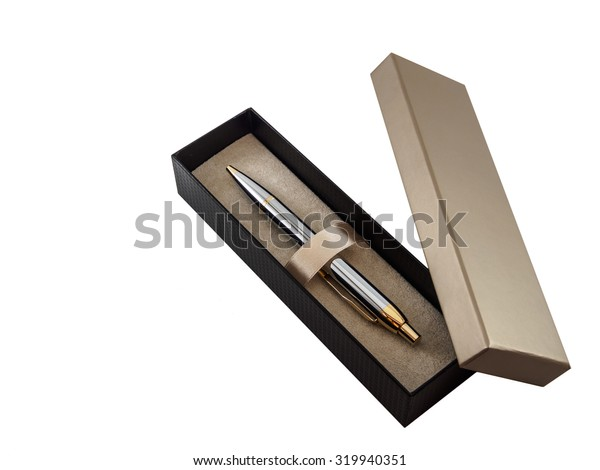 The pen in box on white background