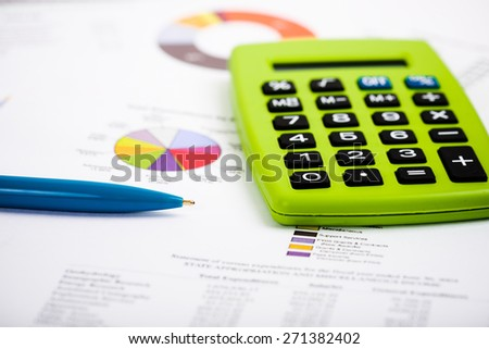 Pen Calculator On Paper Graph Charts Stock Photo Edit Now