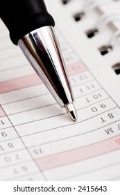 pen, calendar, checklist