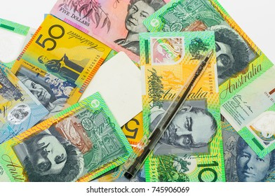 pen with card on australia banknotes for financial concept