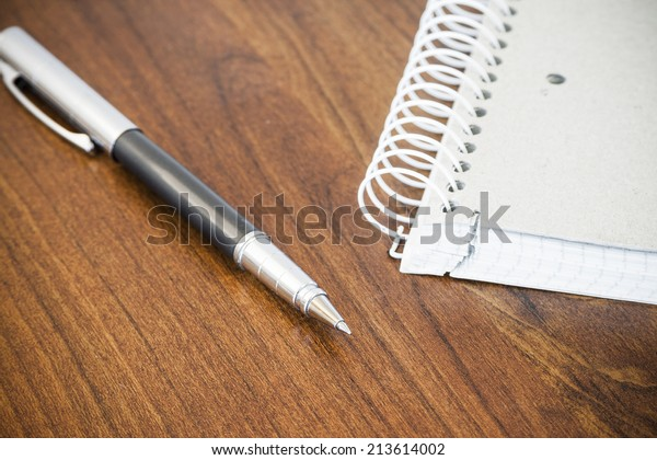 Pen and coiled notebook