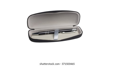 pen in a gift box isolated on white background