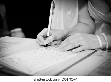 Woman writing letter images stock photos vectors shutterstock pen in hand of woman writing on the notebookide checking or signing contract papers publicscrutiny Gallery