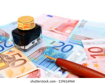 Pen and ink for euro banknotes.
