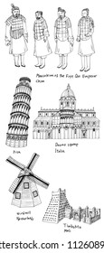 pen line and cultural assets and Pisa, Duomo square, windmill, Timbuktu, hand drawn isolated on white background.