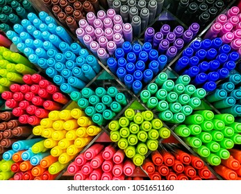 Pen Multi colors in store blur