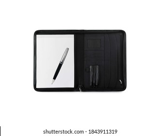 Pen and notebook isolated on white background