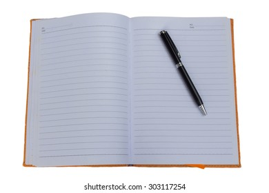 Pen and notebook on white background