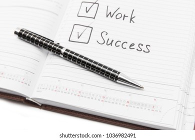 Pen and notice in a notebook, business and education