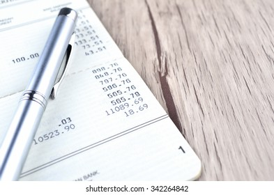 pen on bank account book
