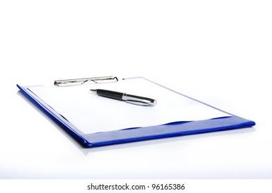 a pen on a blue pad folder