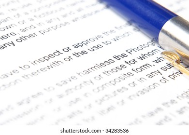 the pen on the document