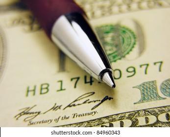 Pen on a dollar