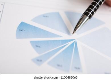 Pen on graph. Macro image.Financial data analysis concept