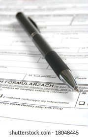 Pen on official tax form