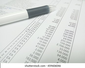 the pen on price list paper
