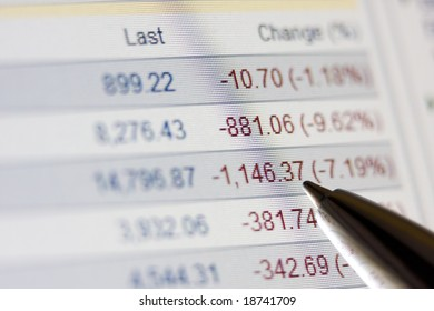 Pen points to falling stock market rates, LCD closeup photo. Global financial crisis.