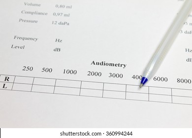 Pen and the results of tympanogram and audiometry