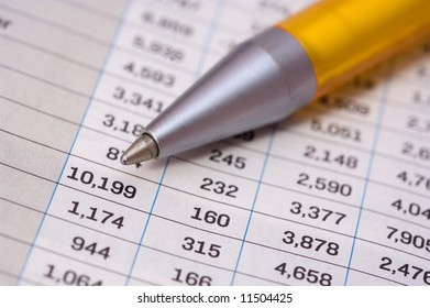 Pen showing list of numbers
