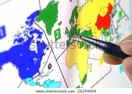 Pen Showing Sales Territory Map On Stock Photo (Edit Now) 26244604 ...