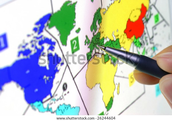 Pen Showing Sales Territory Map On Stock Photo (Edit Now ...