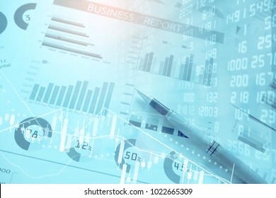 pen and spreadsheet excel document research financial accounting summary analysis report,Double exposure business financial business data   report and stock market concept