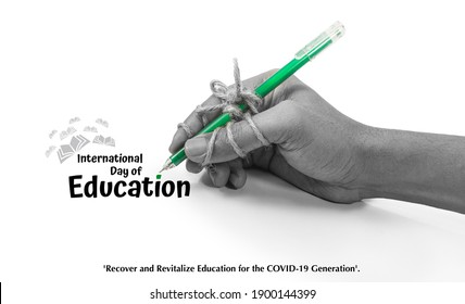 pen tightly knotted with hand. creative card idea for study, Perseverance, diligence, persistence, International Education Day, 24 January, Recover and revitalize education for the COVID 19 generation