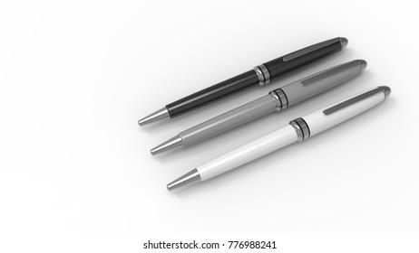 Pen. White background. 3D rendering.