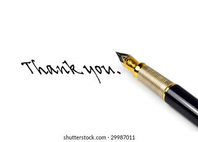 pen with written words Thank you