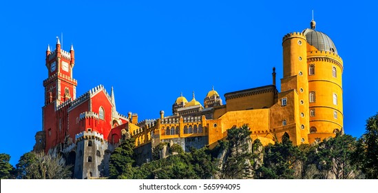 Pena National Palace, famous landmark, Sintra, Lisbon, Portugal, Europe.