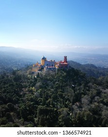 Pena National Palace in Sintra, Portugal. Aerial view